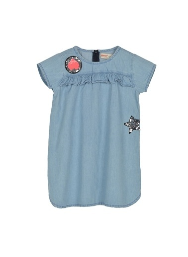 Silversun Kids Kız Çocuk Açık Denim Nakışlı Fermuarlı Fırfırlı Kot Gömlek Ek 216012 Mavi